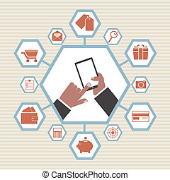 Tablet PC with Hands & Vector Icons.