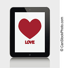 tablet pc with heart.