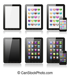 Tablet pc with icons set on white background