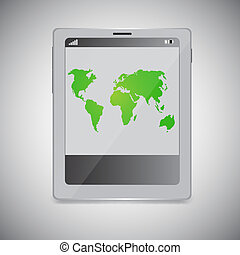 Tablet PC with map on screen