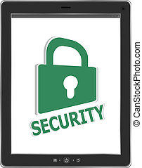 tablet pc with mobile security lock button on screen isolated on white background