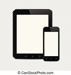 Tablet PC with mobile smartphone isolated on transparent background