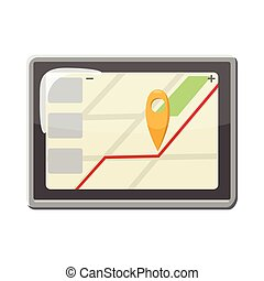 Tablet PC with navigation map icon, cartoon style