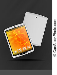 Tablet PC With Orange Floral Background.