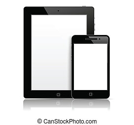Tablet pc with phone - Tablet pc with mobile phone in black...