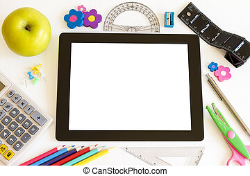 Tablet PC with school accesories
