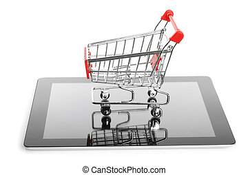 Tablet PC with shopping cart