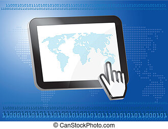 Tablet PC with world map, binary concept,3d