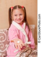 tablet., pequeno, focalizado, menina, mão