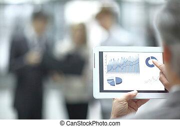 tablet., przestrzeń, fotografia, wizerunek, używając, up.blurred, cyfrowy, zamknięcie, biznesmen, kopia