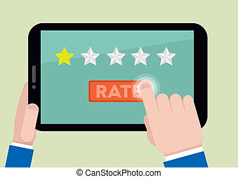 tablet rating one star - minimalistic illustration of hands...