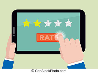 tablet rating two stars - minimalistic illustration of hands...