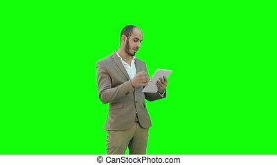 tablet, roepen, chroma, zakenman, scherm, computer, video, key., vervaardiging, groene