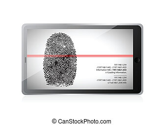 tablet scanning a finger print illustration design