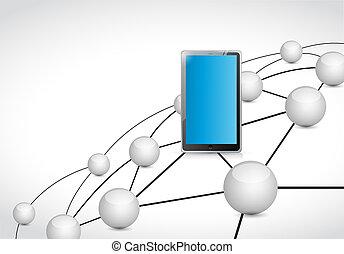 tablet, schakel, netwerk, aansluitingen, illustratie