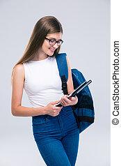 tablet, schooltas, computer, tiener, vrouwlijk, gebruik
