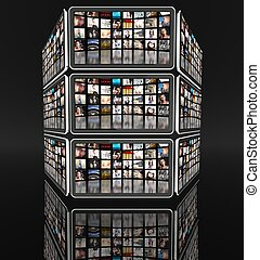Tablet screens with many icons on black