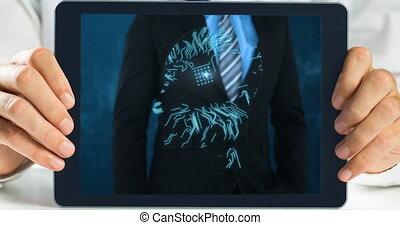 Tablet showing Businessman