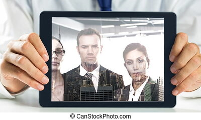 Tablet showing Businesspeople video