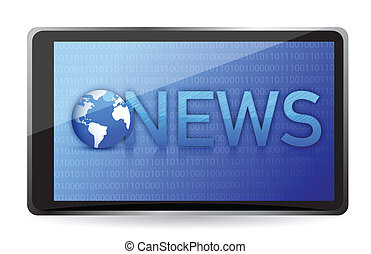 tablet showing NEWS on screen