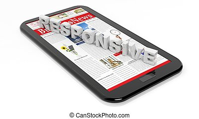 Tablet / smartphone, isolated on white. Responsive web design concept.