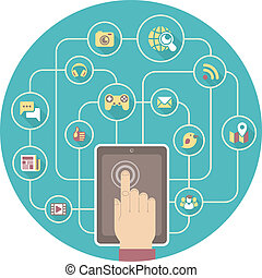 tablet, sociaal, networking