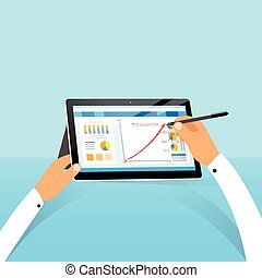 tablet surface finance chart hand draw with stylus pen flat...