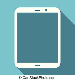 Tablet symbol flat design vector blue internet icon
