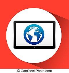 tablet, technologie, pictogram, globe, communicatie