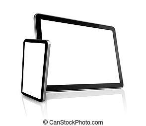 tablet, telefoon, beweeglijk, pc computer, digitale