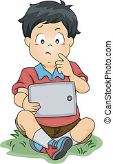 Tablet Thinking Boy