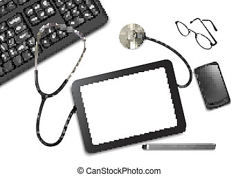 Tablet touch pad and office supplies on the table at the ...
