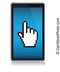 tablet touch screen illustration concept over white