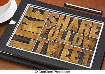 tablet, tweet, zoals, aandeel, woorden, volgen