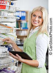 tablet, unge, lys, digitale, bruge, apoteker