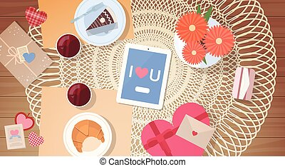 Tablet Valentine Day Gift Card Holiday Decorated Table Top Angle View