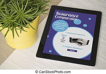 tablet, verzekering, comparator, op, een, tafel, met, plant