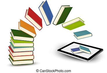tablet., vetorial, livros, illustration., voando