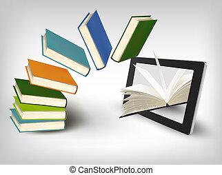 tablet., vettore, libri, illustration., volare