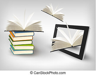 tablet., vettore, libri, illustration., volare