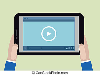 tablet videoplayer - minimalistic illustration of a ...