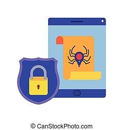 Tablet virus scan avatar character