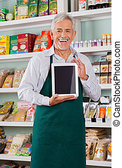tablet, viser, digitale, ejer, mandlig, butik