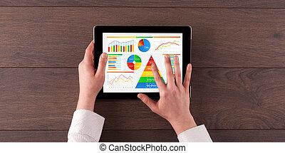 tablet, voedingsmiddelen, alledaags, hand, rapport, analyseren