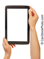 Tablet with a blank screen in female hands isolated on white bac