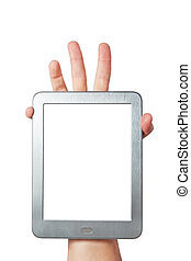 Tablet with a clean screen in the palm of your hand on a white background.