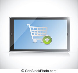 tablet with a shopping cart button. online