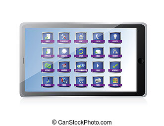 tablet with apps or buttons illustration