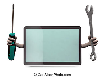 tablet with arms and tools on hand