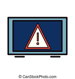 Tablet with attention sign on screen